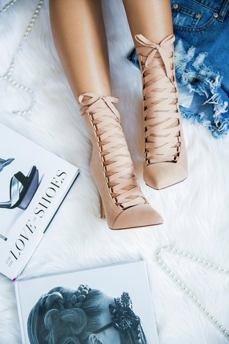 shoes heels booties lace up lace-up shoes lace up heels suede suede booties suede shoes suede heels mauve mauve shoes mauve heels mauve booties nude nude shoes nude heels nude booties flyjane