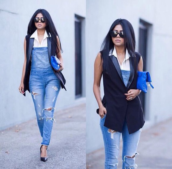 jacket sunglasses denim jacket denim blouse bag white jeans style summer outfits winter outfits top t-shirt hot classy streetwear streetstyle hot pants white t-shirt skinny pants high heels ripped jeans platform shoes romper jumpsuit ripped lipstick make-up blazer high waisted jeans