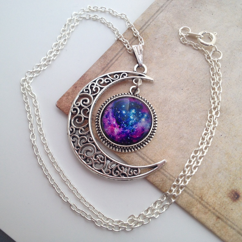 5f6a56bf6ef1fc Moon Necklace Nebula Necklace Bohemian Necklace - Galaxy Necklace Universe  Choker - Nebula Choker