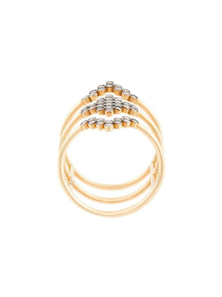 Yannis Sergakis women triple ring gold grey metallic jewels