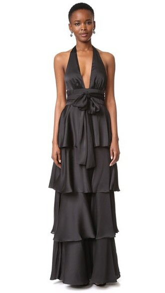 gown ruffle v neck black dress
