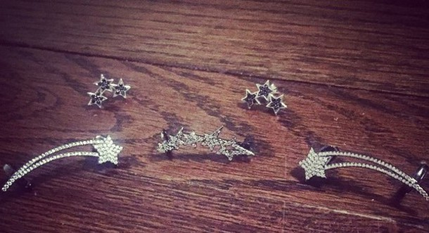 jewels earrings jewelry stars stud rhinestone diamond