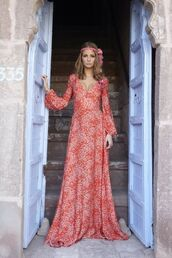 dress,long dress,pink dress,gypsy,wedding dress,red dress,orange,maxi dress,maxi,long sleeves,sleeve,pattern,hippie,floral dress,70s style,dress gowns,hippie dress,print dress,floral maxi dress,whiteprint,gown,hippiedress,hippiegown,flowy dress,longsleved dress
