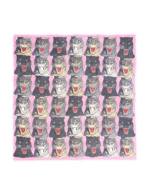 gucci tiger scarf silk scarf silk wool
