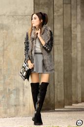 fashion coolture,blogger,skirt,knee high boots,faux fur vest,mini skirt,circle skirt,grey skirt,jacket,t-shirt,bag,shoes,grey fur vest