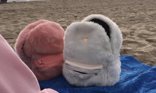 5788e5b2dd11 bag fluffy fatherkels pink pastel pastel pink pastel bag white aesthetic  tumblr aesthetic backpack school bag