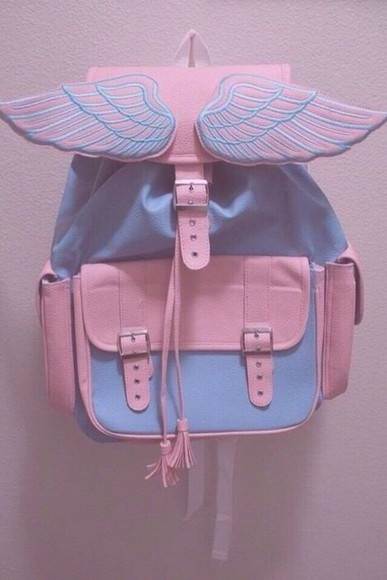 tumblr bag cute kawaii wings pink backpack white and black pastel grunge pale angel wings backpacks