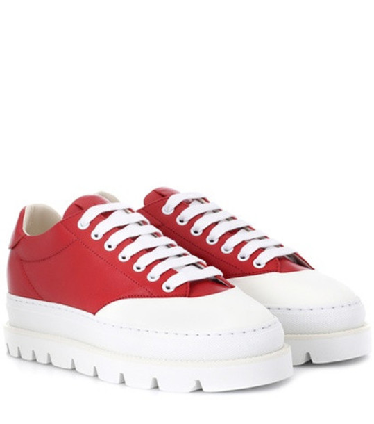 MM6 Maison Margiela Leather platform sneakers in red
