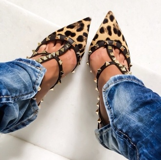 shoes leopard heels heels valentino pointed toe leopard print leopard high heels studded