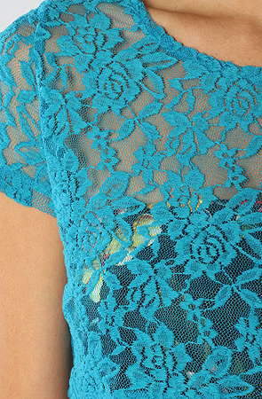 Motel the ronnie crop lace top in turquoise