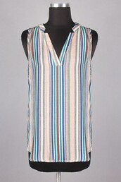 top,blue,pink,peach,stripes,vertical stripes,sleeveless top,woven