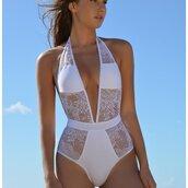 swimwear,bikinione piece,beach,summer,holidays,monoini,bikini,one piece,lace,crochet,mesh,sheer,white,black