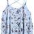 Blue Spaghetti Strap Birds Print Ruffle Vest -SheIn(Sheinside)