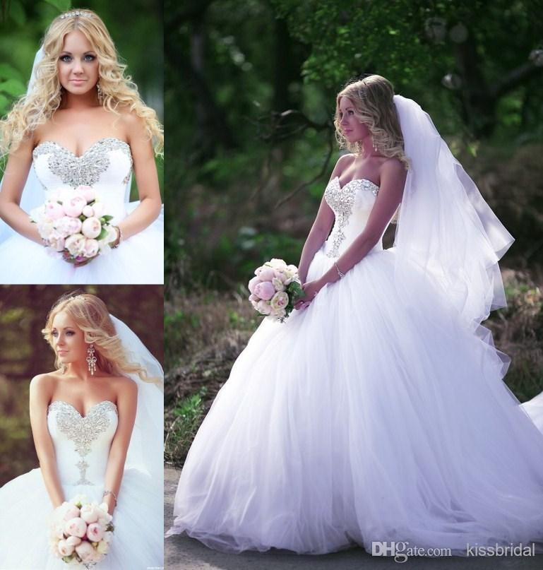 Discount 2015 Bling Ball Gown Wedding Dresses White Crystal Beaded Sweetheart Plus Size Tulle Court