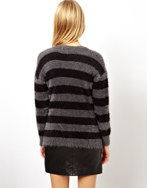 ASOS Petite | ASOS PETITE Exclusive Fluffy Boyfriend Cardigan in Stripe at ASOS