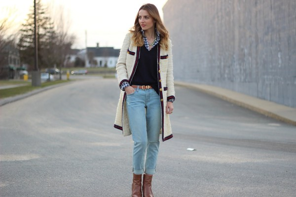 jess style rules jeans belt sweater shoes coat jewels