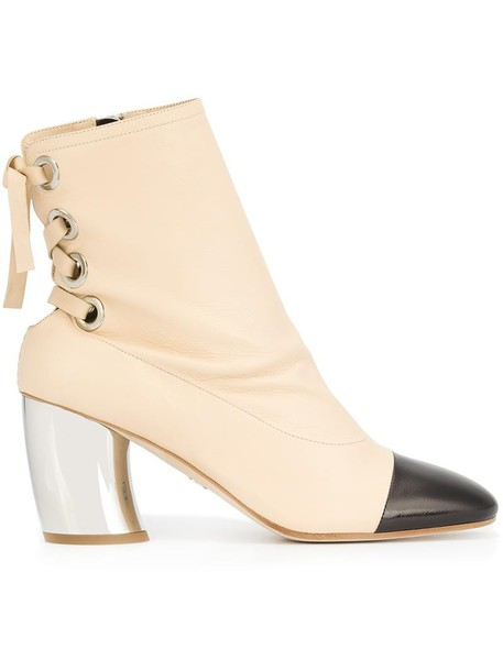 women boots ankle boots leather white shoes