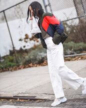 jacket,white sneakers,white pants,grey top,winter outfits,streetwear