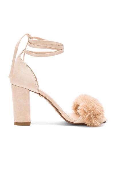 RAYE heel fur faux fur beige shoes