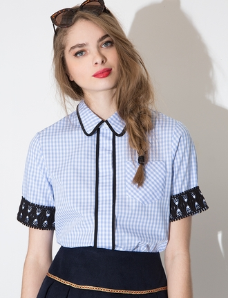 blouse crotched top summer top ootd pixiemarket collared shirt collared top gingham crotchet spring outfits checkered top