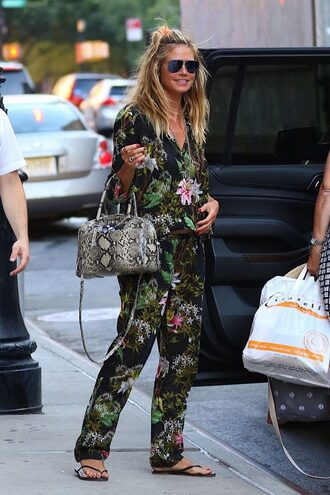 pants top blouse heidi klum sunglasses flip-flops purse floral