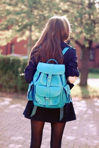 bag blue bag leather backpack