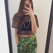 pants,palm tree print,weed,jewels,see through,chain,phone cover,dope,on point clothing,fashion inspo,mesh,top,black crop top,crop tops,baddies,tropical,green,leaves,long pants