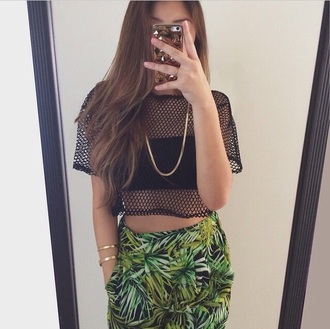 top mesh black crop top crop tops baddies pants