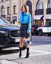 skirt,wrap skirt,plaid skirt,wrap ruffle skirt,high waisted skirt,sweater,turtleneck sweater,sock boots,black boots,shoulder bag