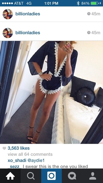 jumpsuit black with white lace trim shoes high heel sandals high heel sandal black elegance dress playsuit navy navy jumpsuit navy romper tumblr blue beach playsuit beach summer lace white kaftan kimono