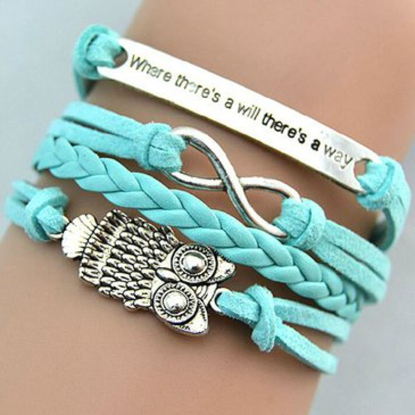 jewels vintage owl pendant multilayer woven bracelet