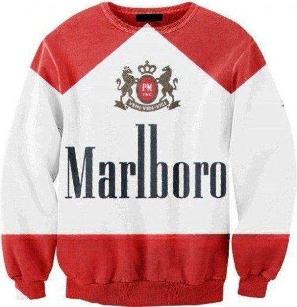 sweater marlboro jumper marlboro oversized jumper fashion tumblr hipster casual oversized sweater streetwear streetstyle