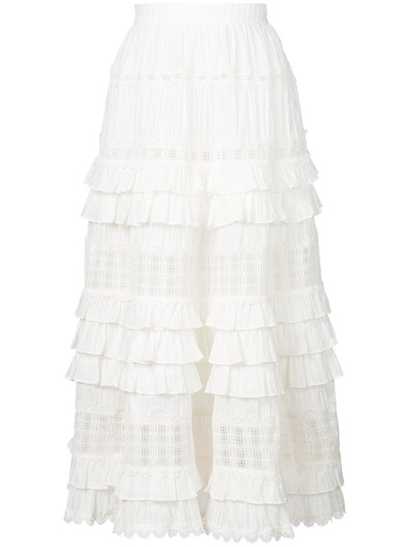 Zimmermann skirt women layered white cotton