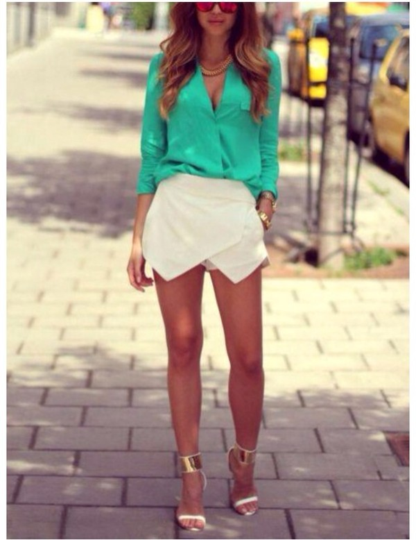 t-shirt shirt turquoise skirt shoes shorts