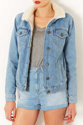 jacket,denim jacket,denim,topshop,winter jacket,fur,cozy,shorts,coat,trendy,pounds