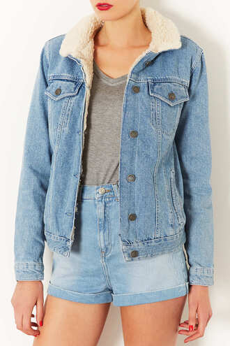 jacket denim jacket denim topshop winter jacket fur cozy shorts