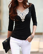 top,black,lace,long sleeves,pretty,white,casual,fashion,style,girly,cute,embroidered