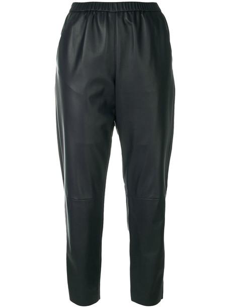 DROME cropped women leather blue pants