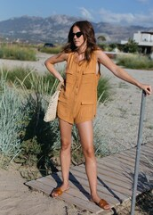 romper,gold romper,sunglasses,sandals,slide shoes