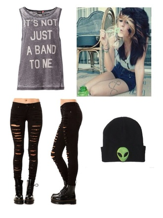 it's not just a band grey grunge cute tank tops jacket jeans beanie alien green cute hats fashion hat