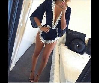 jumpsuit beach playsuit beach summer lace white kaftan kimono romper navy