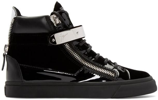 high london sneakers black velvet shoes