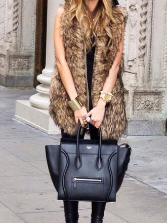 jacket fur vest faux fur vest