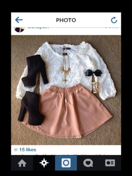 sunglasses black outfit necklace top skirt shoes boots heels pink cream white shirt jewels