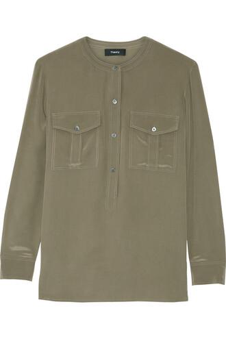 blouse silk green army green top