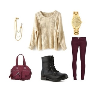 sweater knitted sweater pullover girly knit burgundy outfit idea ideas cute casual nice jewelry accessories white red black brown combat boots shoes