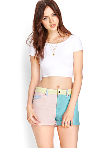 Colorblocked Denim Shorts | FOREVER 21 - 2000061731
