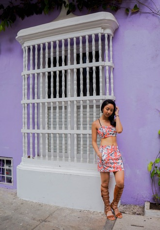 little mai sunshine blogger top jumpsuit skirt gladiators mini skirt pink skirt floral skirt two piece dress set crop tops floral top summer outfits