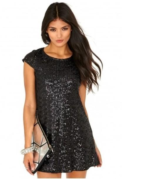 dress shift dress little black dress mini dress sequins