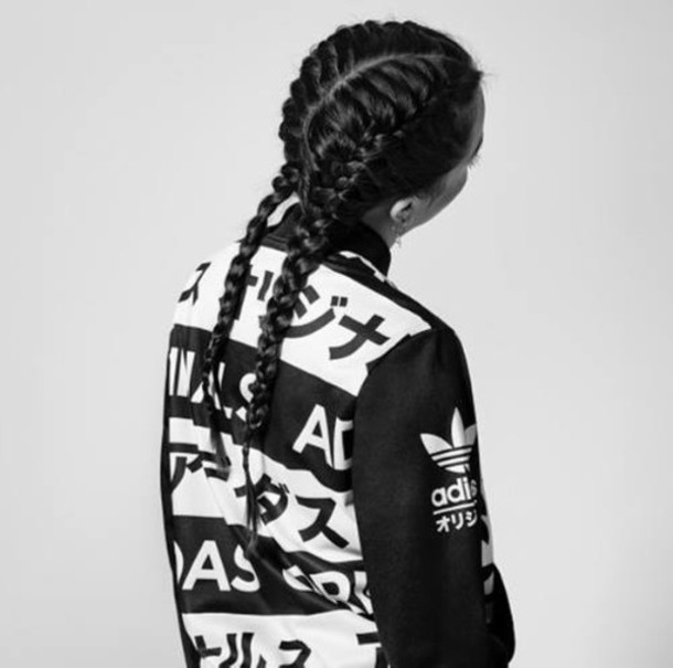 Jacket Adidas Asian Letters Black And White Black And
